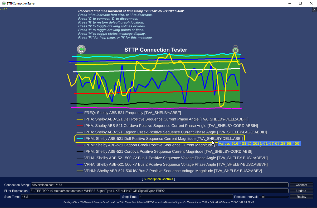 Screen Shot of the STTP Connection Tester